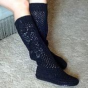 Обувь ручной работы. Ярмарка Мастеров - ручная работа Сапожки вязаные  Тайна, черный, р.37, хлопок, лен. Handmade.
