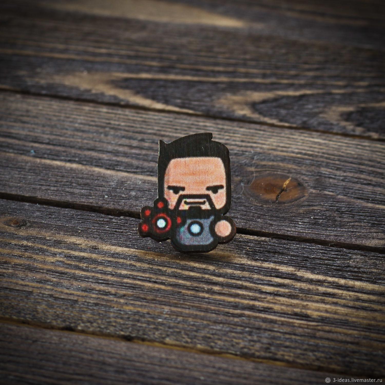 Wooden icon Iron Man, Badge, Volzhsky,  Фото №1