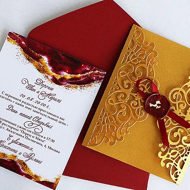 """Свадебный салон ручной работы. Ярмарка Мастеров - ручная работа """"Золотой шёлк"""" приглашения. Handmade."""