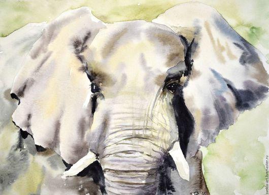 """Животные ручной работы. Ярмарка Мастеров - ручная работа. Купить Картина акварелью """"Слон"""". Handmade. Комбинированный, серый, картина в подарок"""