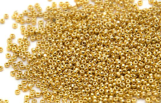 Для украшений ручной работы. Ярмарка Мастеров - ручная работа. Купить Бисер Charlotte 15/0 24k Gold (2 гр) Золотая чешская Шарлотта 15-GP. Handmade.