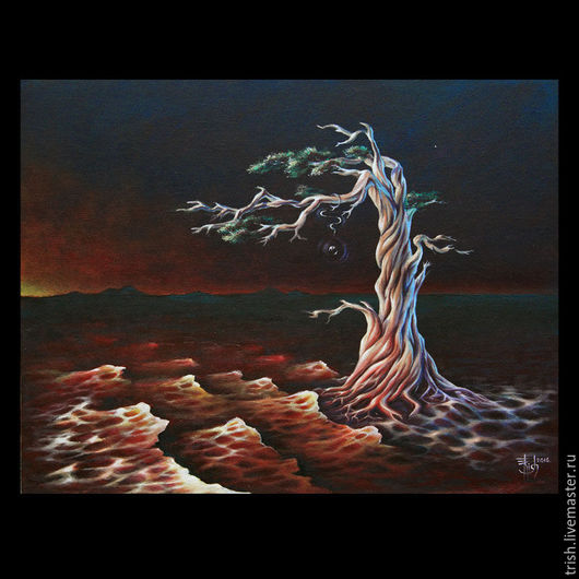 Символизм ручной работы. Ярмарка Мастеров - ручная работа. Купить Коллекционная картина: Кровь земли. Handmade. Бордовый, красный, черный