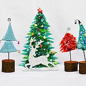 Подарки к праздникам ручной работы. Ярмарка Мастеров - ручная работа Ёлочки на пенёчке из стекла. Handmade.