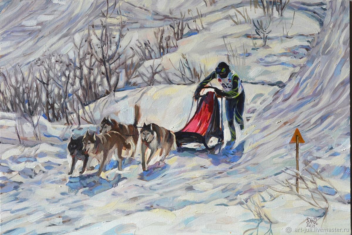 Картина: Гонки на собачьих упряжках, Картины, Москва,  Фото №1