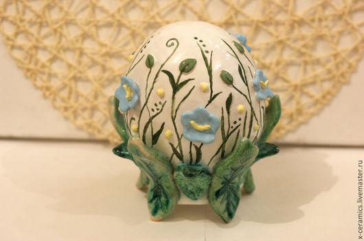 Яйцо пасхальное керамическое сувенирное Нежные цветы весны. Авторская керамика Ксении Гольд