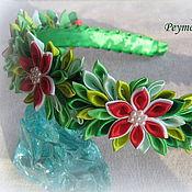 handmade. Livemaster - original item The bezel of satin ribbons in the technique of kanzashi Summer. Handmade.