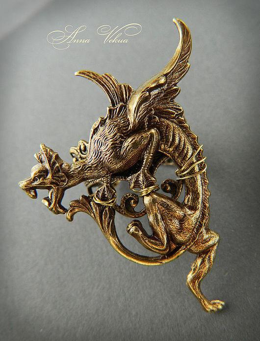 """Кольца ручной работы. Ярмарка Мастеров - ручная работа. Купить Кольцо """"Латунный дракон"""". Handmade. Кольцо, авторское кольцо, дракон"""