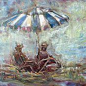 Картины ручной работы. Ярмарка Мастеров - ручная работа Картина холст масло  Вдвоем у моря. Handmade.