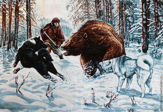 Шитье ручной работы. Ярмарка Мастеров - ручная работа. Купить Охота на медведя: гобеленовая заготовка без оверлока, 101-70 см. Handmade.