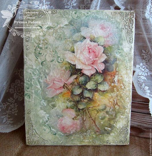 """Картины цветов ручной работы. Ярмарка Мастеров - ручная работа. Купить Панно фреска """" Розы от Sonie Ames"""". Handmade."""