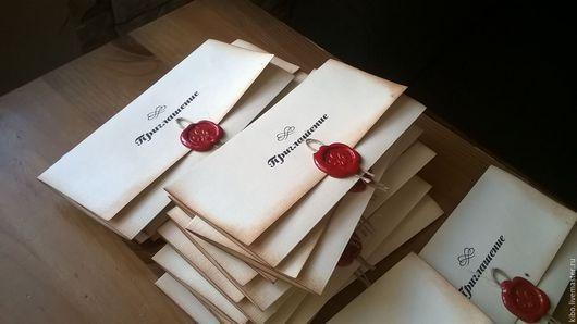 Пригласительные ручной работы. Ярмарка Мастеров - ручная работа. Купить Invitation red. Handmade. Бежевый, свадьба 2016, дизайнерская бумага