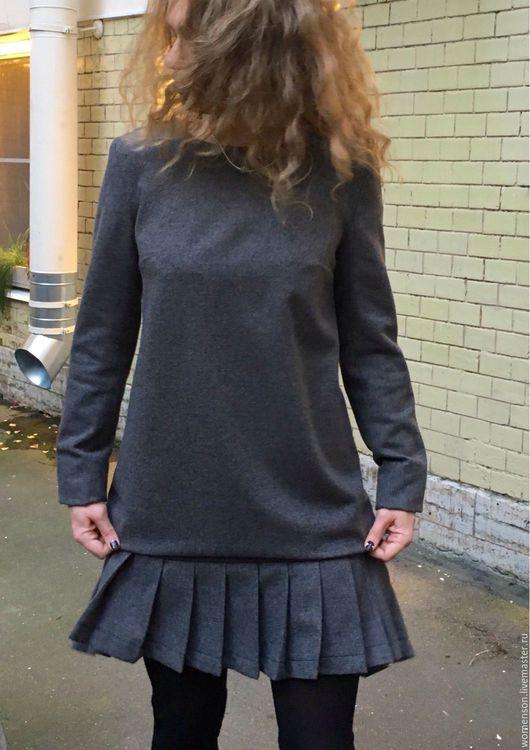 Платья ручной работы. Ярмарка Мастеров - ручная работа. Купить Шерстяное платье Gray Energy. Handmade. Серый, свободный крой