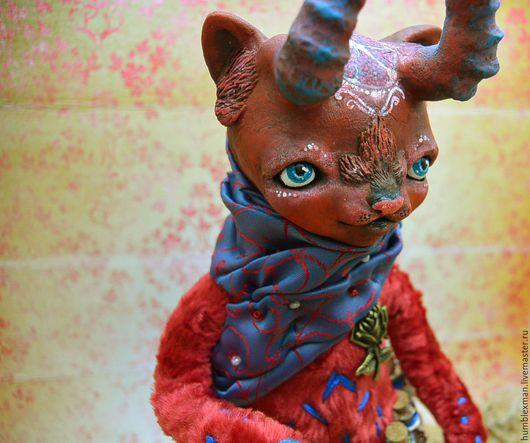 Куклы и игрушки ручной работы. Ярмарка Мастеров - ручная работа. Купить Шоуба. Handmade. Бордовый, коты и кошки, красный, мулине