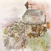 Картины и панно ручной работы. Ярмарка Мастеров - ручная работа картина акварелью Французское средневековье (бежевый, зеленый, розовый. Handmade.