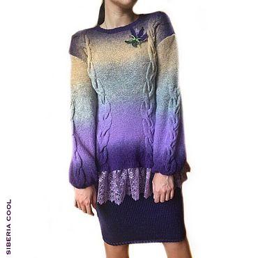 Одежда ручной работы. Ярмарка Мастеров - ручная работа Костюм свитер и юбка Лавандовый закат, вязаный, Кауни, кружево, омбре. Handmade.