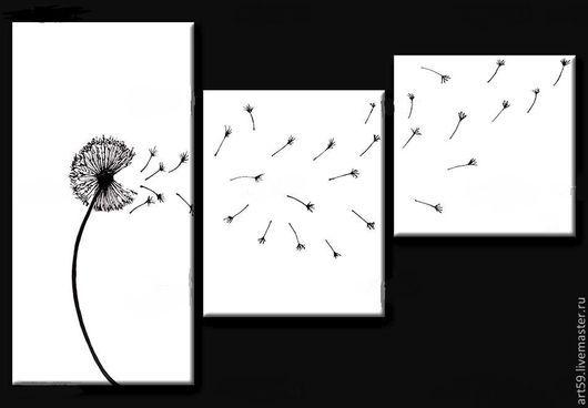 """Фантазийные сюжеты ручной работы. Ярмарка Мастеров - ручная работа. Купить Триптих """"Одуванчик"""". Handmade. Чёрно-белый, одуванчик"""