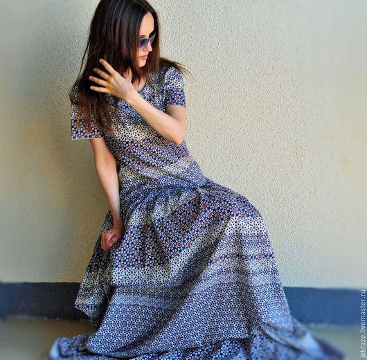 Платья ручной работы. Ярмарка Мастеров - ручная работа. Купить 01. Длинное платье свободного силуэта из 100%  хлопка. Handmade.