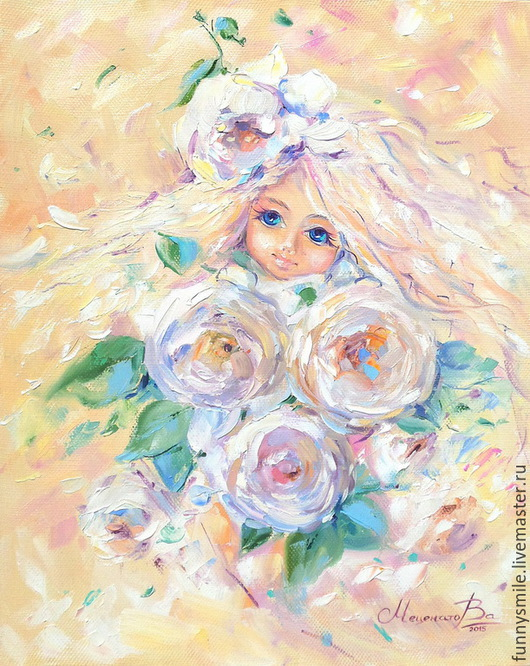 Дочки-цветочки. Картина маслом.