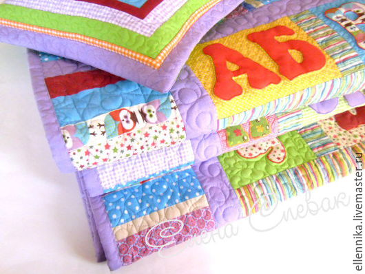 """Пледы и одеяла ручной работы. Ярмарка Мастеров - ручная работа. Купить Детское одеяло """"Алфавит""""цветной. Handmade. Алфавит, американский хлопок"""