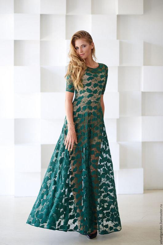 Платья ручной работы. Ярмарка Мастеров - ручная работа. Купить Тенистый сад. Handmade. Тёмно-зелёный, вечернее платье