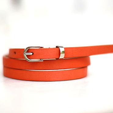 Аксессуары ручной работы. Ярмарка Мастеров - ручная работа Узкий кожаный ярко-оранжевый ремень. Handmade.