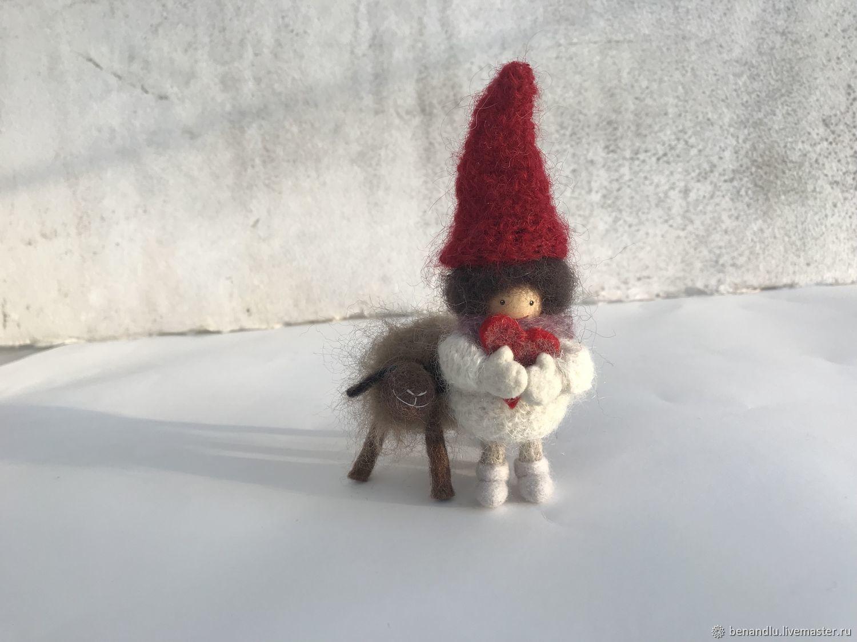 Гномик, подвижная куколка. Дерево, войлок. И шоколадная Овечка, Мягкие игрушки, Санкт-Петербург,  Фото №1