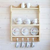 """Для дома и интерьера ручной работы. Ярмарка Мастеров - ручная работа """"Буржуа"""", Настенная открытая деревянная полка на кухню для посуды. Handmade."""