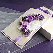 Свадебный салон ручной работы. Ярмарка Мастеров - ручная работа Свадебная открытка в коробочке. Бело-сиреневая-2. Handmade.
