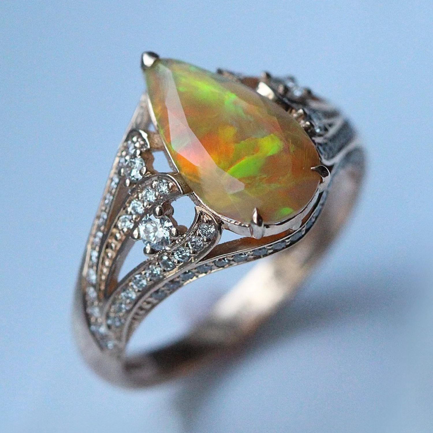 Ciela ring with fire opals and diamonds, Rings, Moscow,  Фото №1