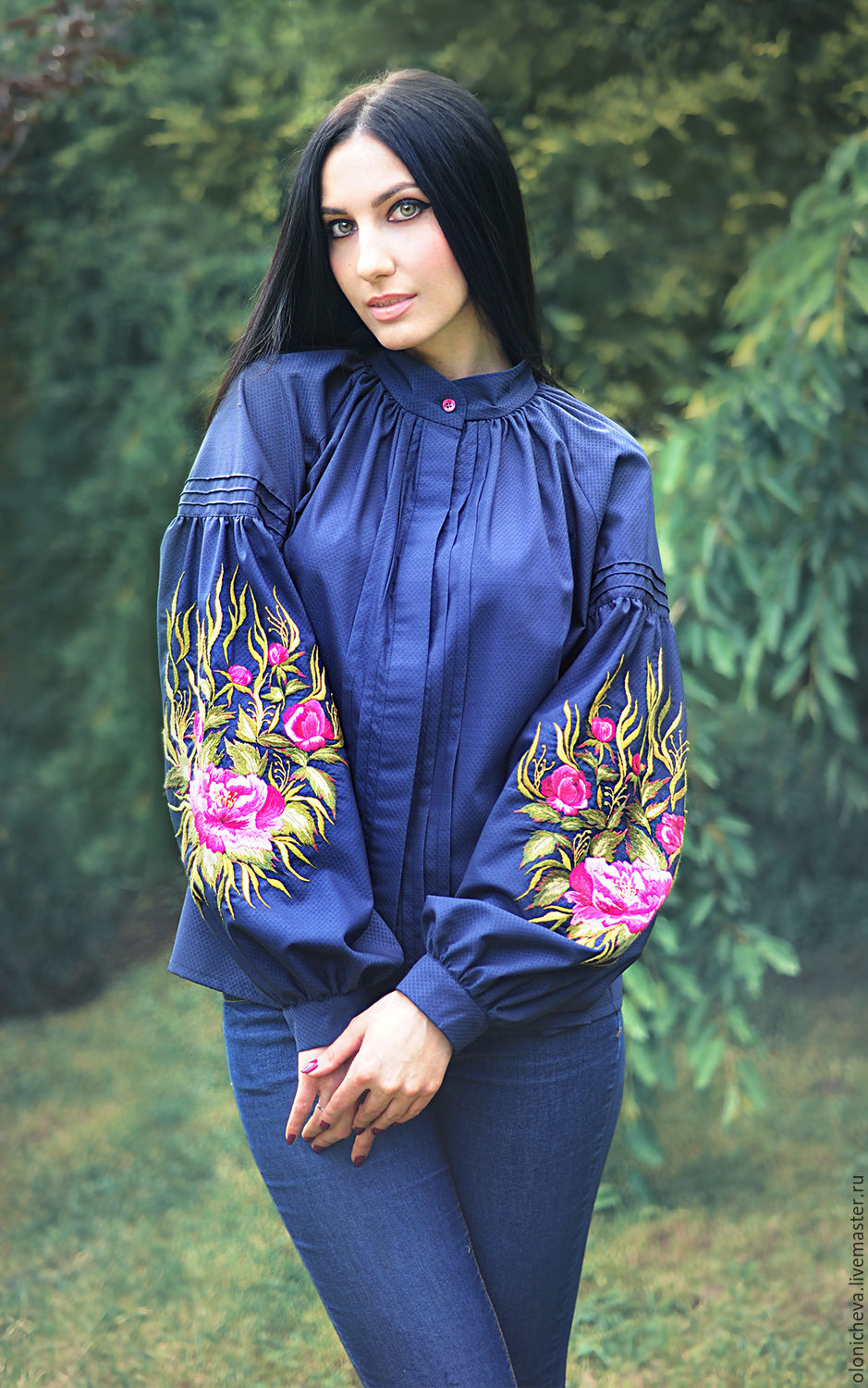 Elegant embroidered blouse 'Flower evening', Blouses, Vinnitsa,  Фото №1