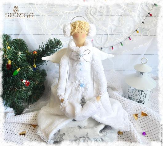 Куклы Тильды ручной работы. Ярмарка Мастеров - ручная работа. Купить Зимний ангел на коньках. Handmade. Зимний ангел тильда
