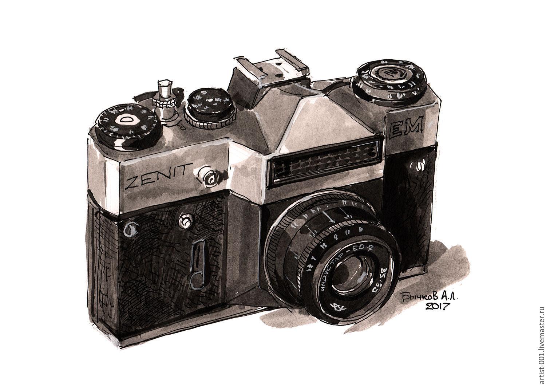 Рисунок, фотоаппарат Зенит-ЕМ с объективом Индустар-50-2, Картины, Москва, Фото №1