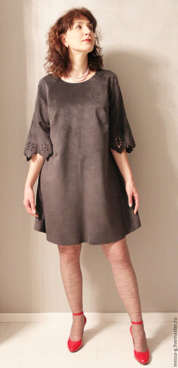Suede dress graphite color, Dresses, Moscow,  Фото №1