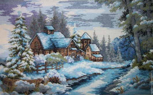"""Пейзаж ручной работы. Ярмарка Мастеров - ручная работа. Купить Картина """"ЗИМА""""(вышивка крестом). Handmade. Голубой, зима, картина"""