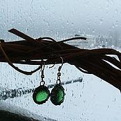 Украшения ручной работы. Ярмарка Мастеров - ручная работа серьги из стекла Капли. Фьюзинг. Тиффани. Handmade.