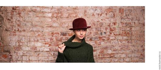Шляпы ручной работы. Ярмарка Мастеров - ручная работа. Купить Котелок из велюра. Handmade. Бордовый, шляпа с полями, дамская шляпа
