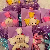 """Подарки к праздникам ручной работы. Ярмарка Мастеров - ручная работа Подарочный набор """"Мишка в цветах"""". Handmade."""