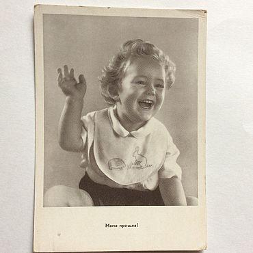 Винтаж ручной работы. Ярмарка Мастеров - ручная работа Мама пришла советская открытка. Handmade.