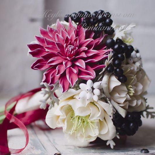 Свадебные цветы ручной работы. Ярмарка Мастеров - ручная работа. Купить Букет невесты из полимерной глины с георгинами и морозником.. Handmade.