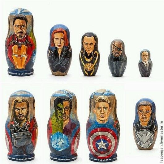 """Сувениры ручной работы. Ярмарка Мастеров - ручная работа. Купить Матрёшка Marvel """"Avengers"""". Handmade. Разноцветный, матрешка, портрет, роспись"""