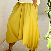Одежда handmade. Livemaster - original item Harem pants with pockets, Mustard Cotton wide-leg Trousers. Handmade.