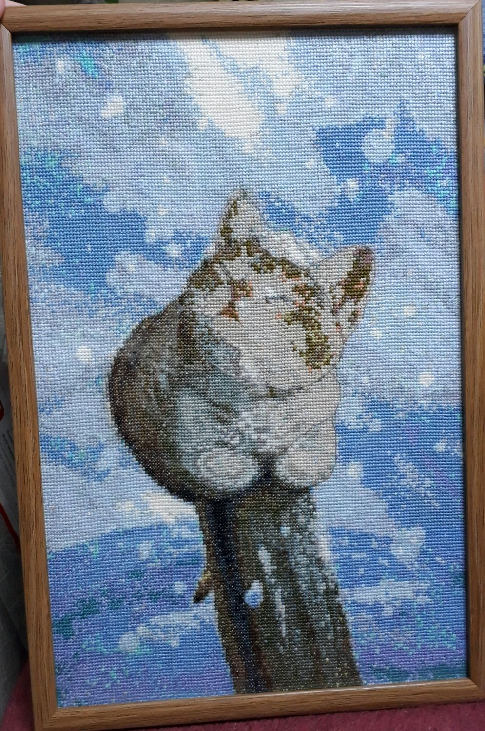 """Вышитая картина """"Кот зимой"""", Картины, Подольск,  Фото №1"""