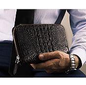 Сумки и аксессуары handmade. Livemaster - original item Cosmetic bag with crocodile leather zipper closure with hand strap. Handmade.