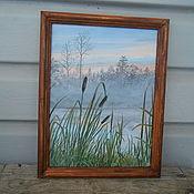 Картины ручной работы. Ярмарка Мастеров - ручная работа Туманное утро на озере Лотово. Handmade.