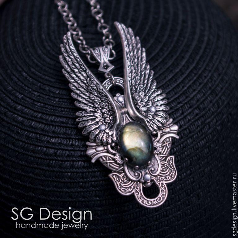 "Silver plated Pendant ""Angel 2"" Labradorite, Necklace, Wings, Pendants, Yalta,  Фото №1"