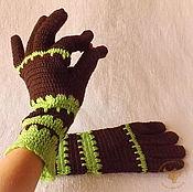 Аксессуары ручной работы. Ярмарка Мастеров - ручная работа Удобные вязаные шерстяные перчатки Дубовая роща. Handmade.