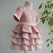 Платье ручной работы. Ярмарка Мастеров - ручная работа Детское платье лён с юбочкой воланами. Handmade.