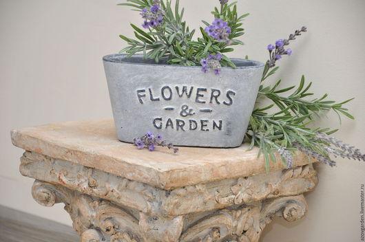 Кашпо ручной работы. Ярмарка Мастеров - ручная работа. Купить Горшок для растений овальный FLOWERS and GARDEN, бетонный. Handmade.