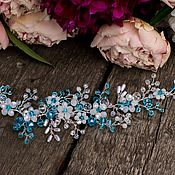 Свадебный салон handmade. Livemaster - original item Wedding sprig. Decoration for hair. Turquoise-white.. Handmade.