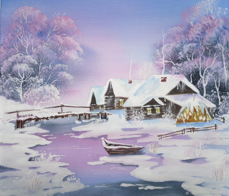 Зимняя деревня картинки нарисованные, поздравления ксения простая